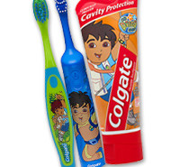 child toothbrush and toothpaste